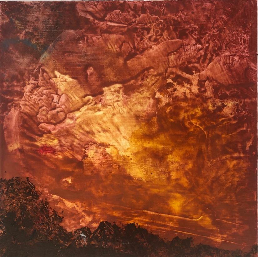 Firestorm, 2020, oil on board, 30.5 x 30.5 cm