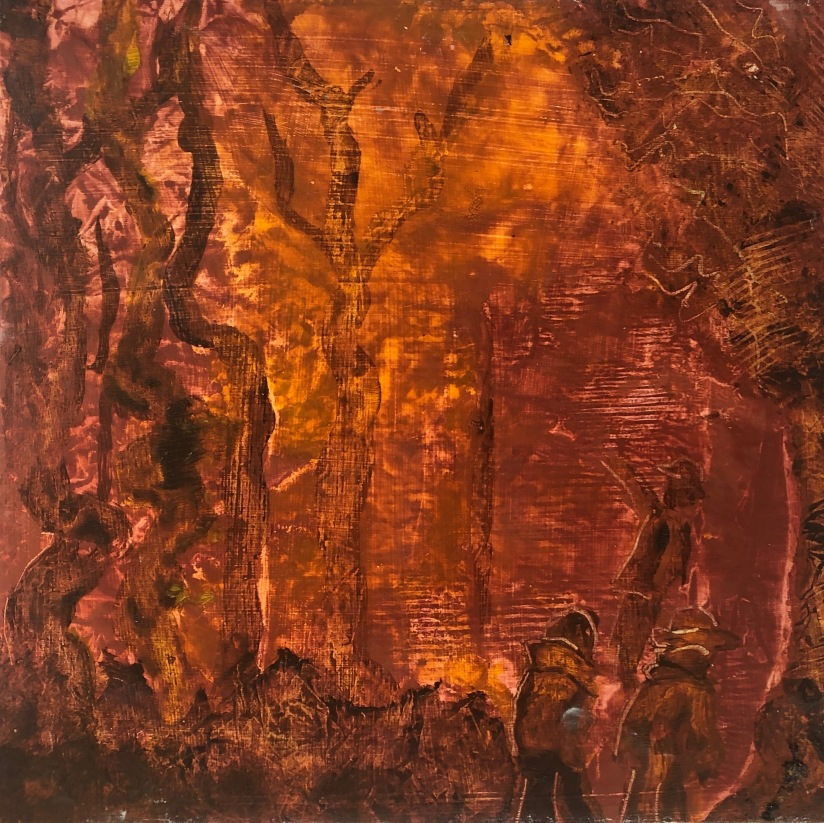 Ablaze, 2020, oil on board, 30.5 x 30.5 cm