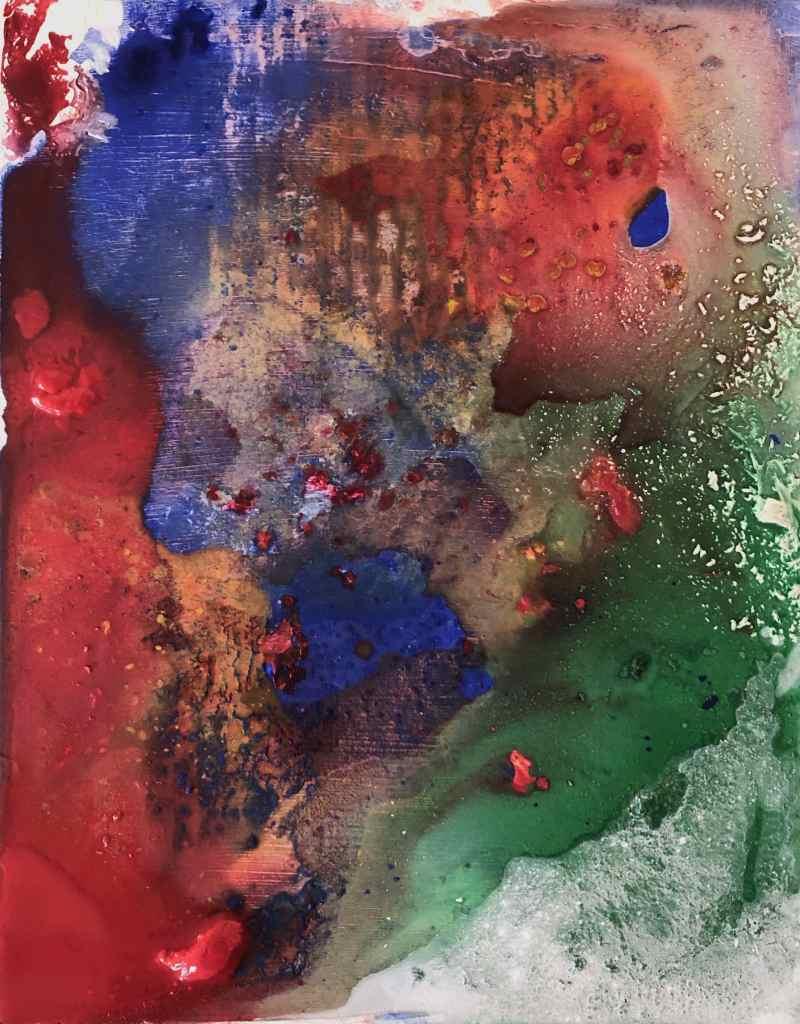 Emulsive Happening II, acrylic on board, 30.5 x 24.3 cm